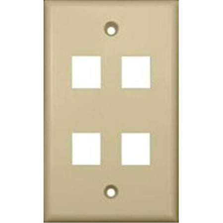 Wallplate For Keystone Jacks And Modular Inserts Four Ports Ivory