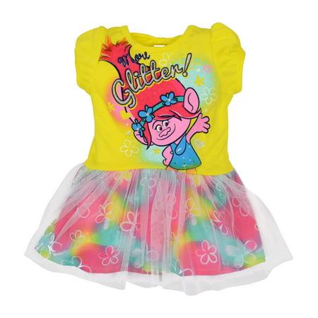 Toddler Girls' Trolls Dress - Poppy, Yellow (5T)