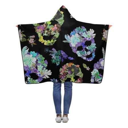 HATIART Floral Skulls Hooded Blanket 40x50 inches Toddler Kid Baby Boys Girls Throw Blankets Wrap - image 1 de 2