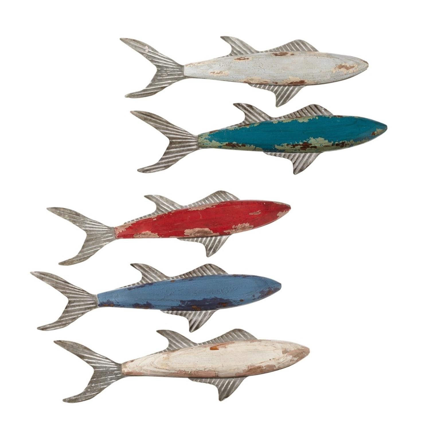 Set of 5 Assorted Distressed Small Shark Fish Shaped Wall Decor 14""