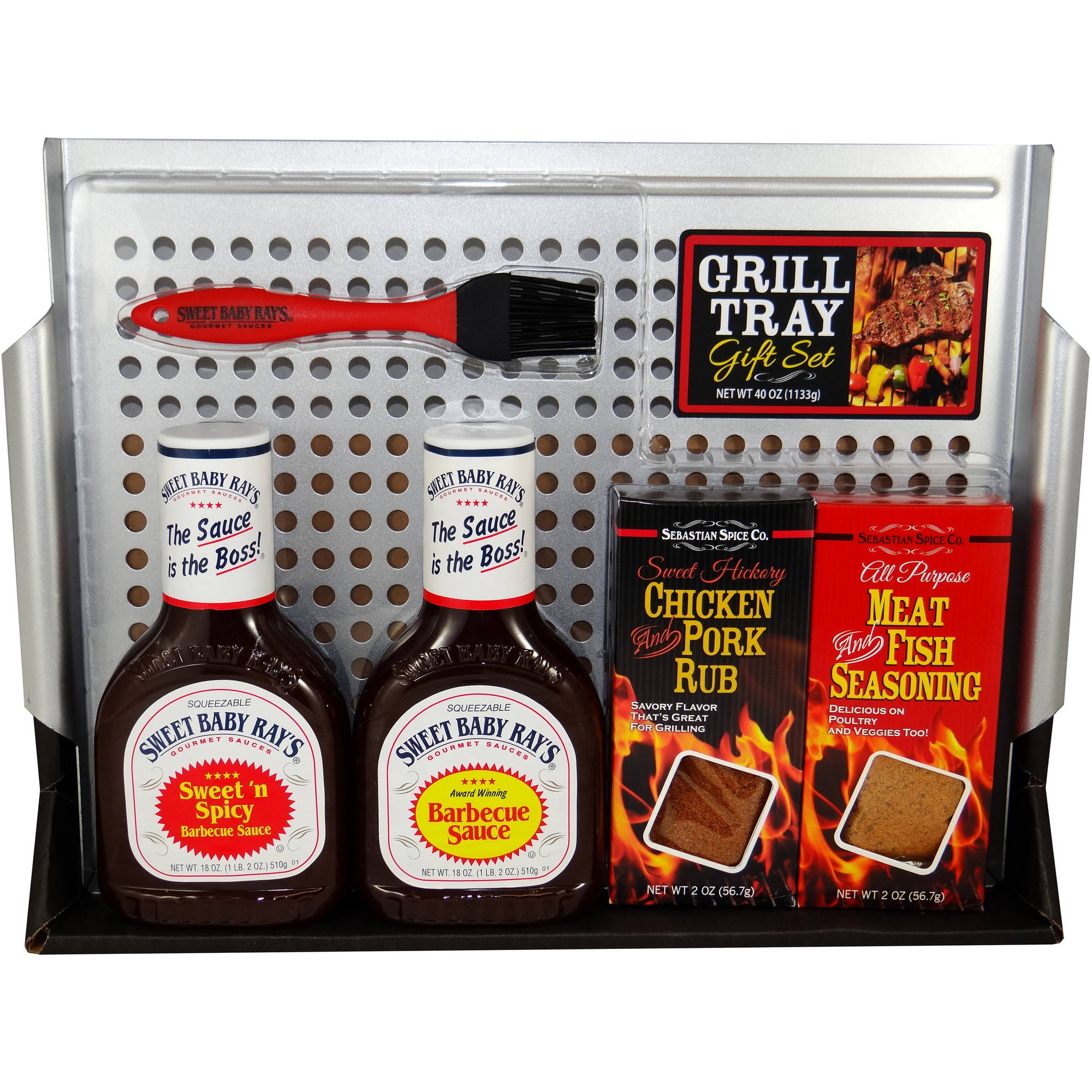 Grill Tray with Sweet Baby Ray's Holiday Gift Set, 6 pc