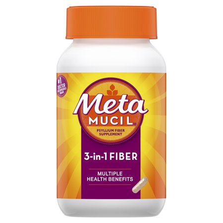 Metamucil Fiber, 3-in-1 Psyllium Capsule Fiber Supplement, 160 ct Capsules