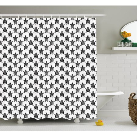 Tattoo Shower Curtain Pattern With Sea Turtles In Maori Style Ethnic Polynesian Tribal Swirly Motifs Fabric Bathroom Set Hooks Black White