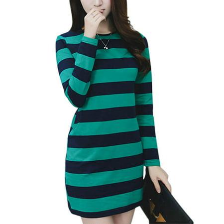 c8b1b837a Babula - Babula Women Striped Printed Long Sleeve Basic Mini Dress ...