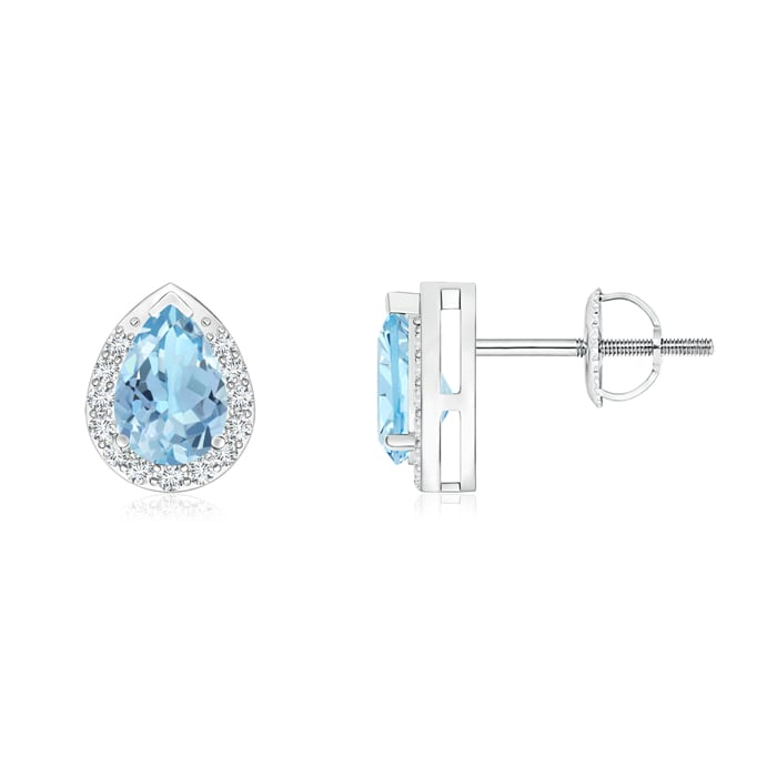 Angara 14k White Gold Pear Shaped Aquamarine Stud Earrings
