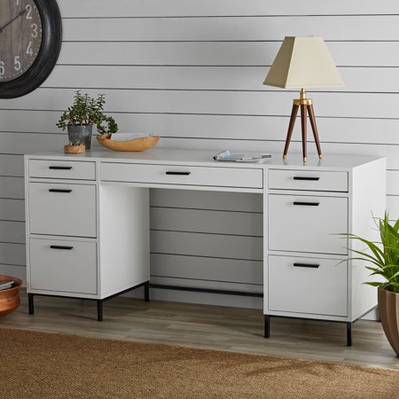 Better Homes & Gardens Desk with File Organizer and Metal Base, White Finish ()