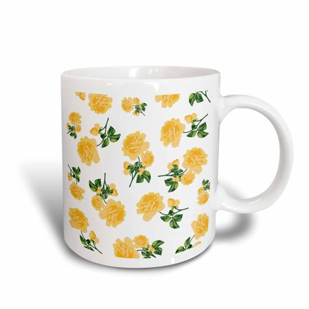 3dRose Floral Country Cottage Spring Yellow Buttercup Roses on White - Ceramic Mug, 11-ounce - Floral White Ceramic