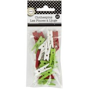 """Mini Clothespins 1"""" 25/Pkg-Holiday - Red, White & Green"""