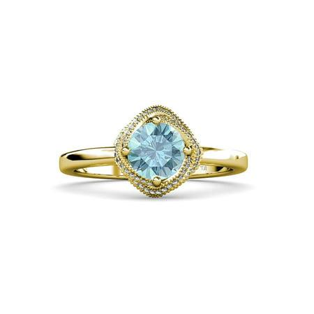 Trijewels Aquamarine And Diamond Halo Engagement Ring