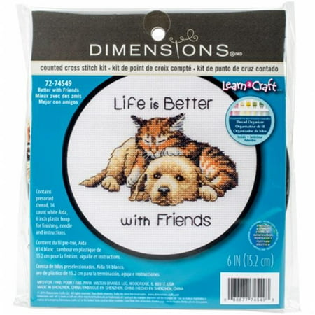 "Learn-A-Craft Better with Friends Counted Cross Stitch Kit, 6"" Round, 14-Count"