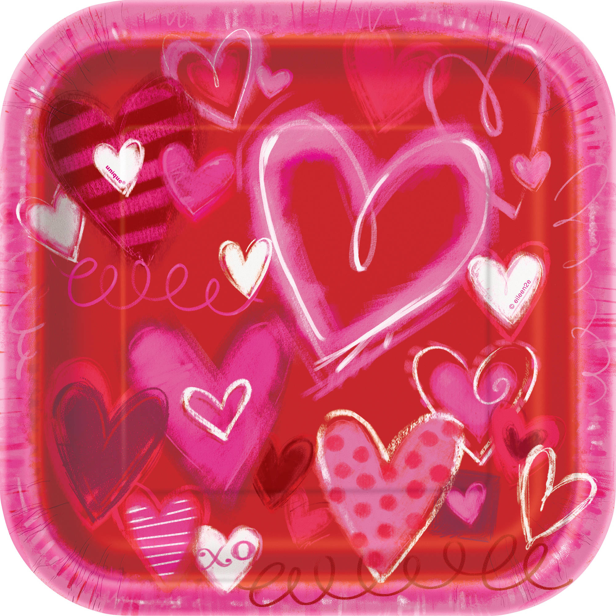"""9"""" Square Painted Hearts Valentine's Day Party Plates, 8ct"""