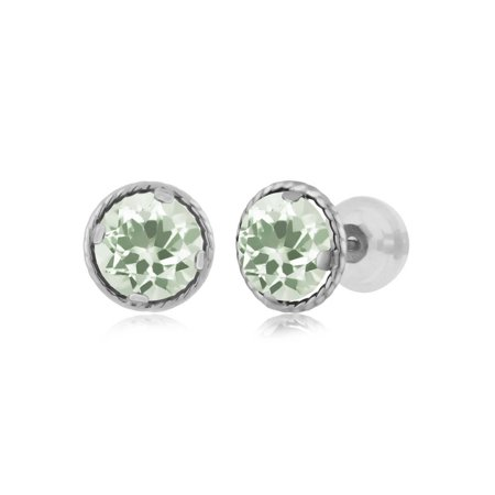 1.60 Ct Round 6mm Green Prasiolite 14K White Gold Stud Earrings - image 2 of 2