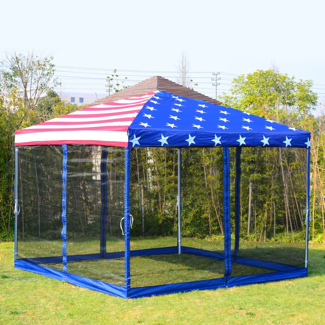 cheap for discount 12001 f6c3b Outdoor 10' x 10' Pop-Up Canopy Tent with Mesh Walls - American Flag