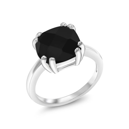 Onyx Board (3.60 Ct Cushion Checkerboard Black Onyx 925 Sterling Silver Ring )