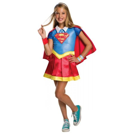 DC Super Hero Girls Supergirl Hoodie Halloween Costume Dress - Supergirl Costume Girls