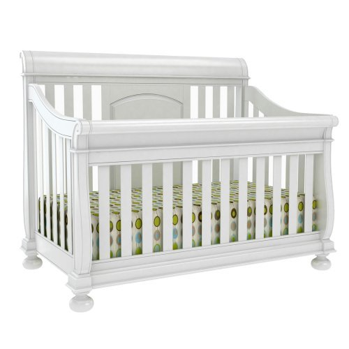 Creations Baby Summer Evening 4 in 1 Convertible Sleigh Crib - Rubbed White
