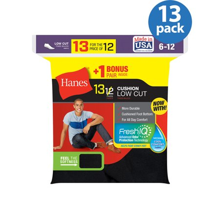 (Hanes Men's Cushion FreshIQ Low Cut Socks 12 + 1 Bonus Pack)