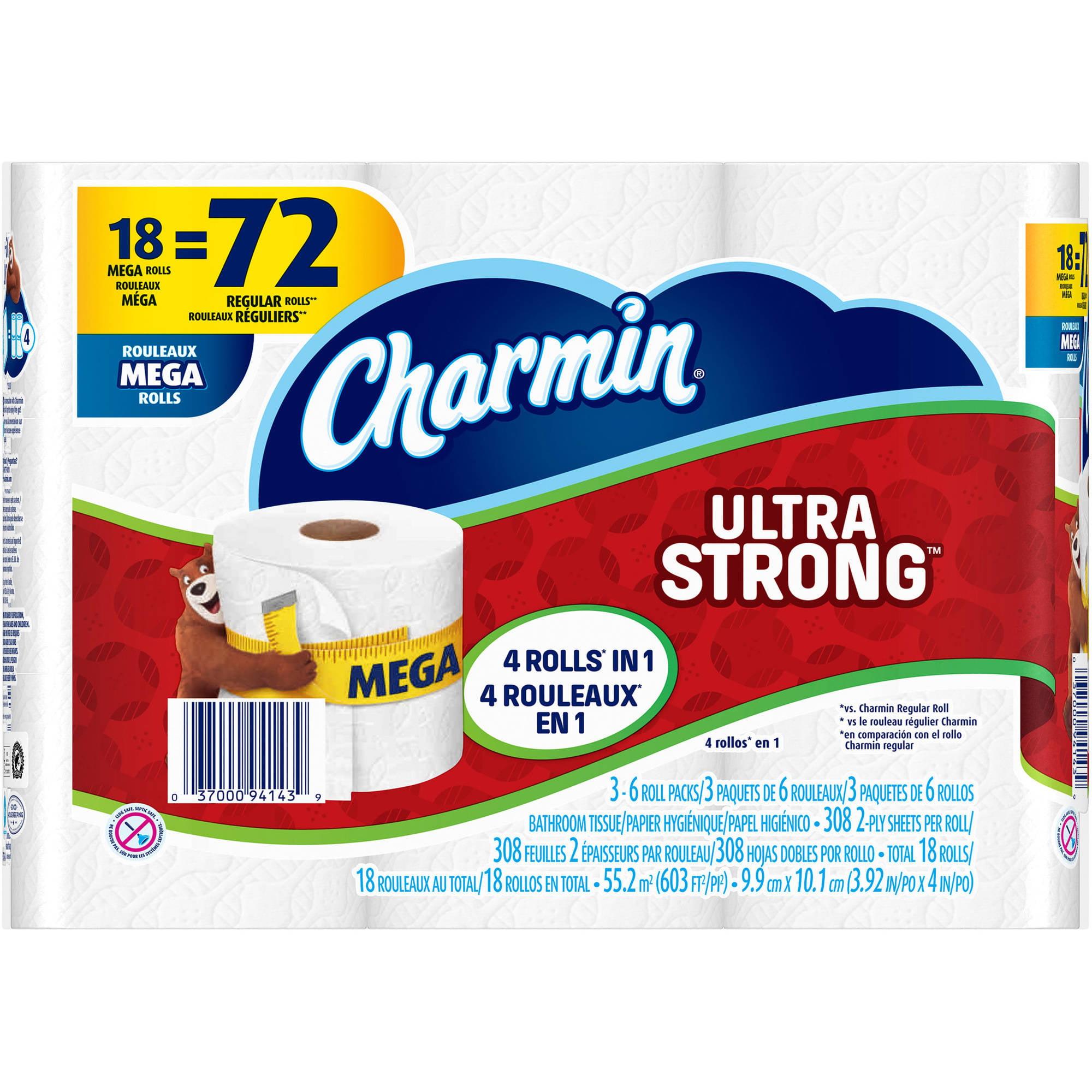 Charmin Ultra Strong Toilet Paper Mega Rolls, 308 sheets, 18 rolls