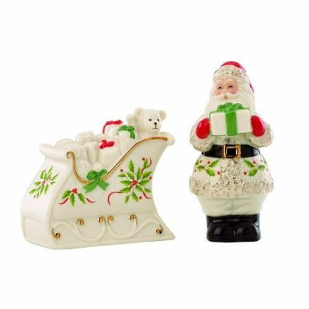 lenox holiday santa & sleigh salt & pepper set