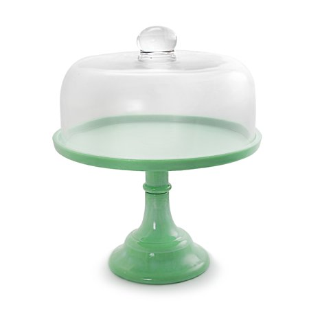 Gibson 12 Inch Cake Stand with Glass Dome in Green ()