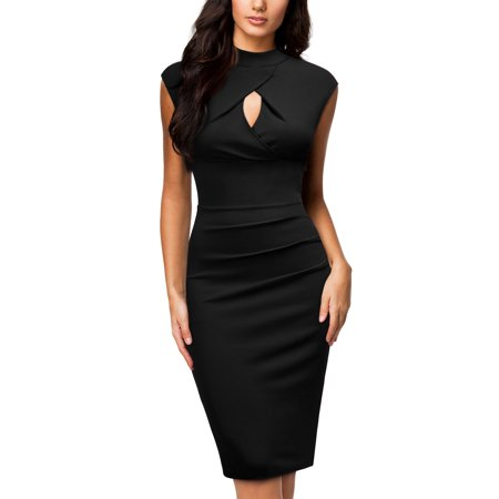 MIUSOL Women's Formal Evening Cocktail Party Bodycon Dress,Cut Out Sleeveless Pleated Wedding Bridesmaid Pencil Dresses(3 Colors:Black,Navy Blue,and Wine Red ;XS=0/2,S=4/6,M=8/10,L=12/14,XL=16/18) ()