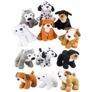 4E's Novelty Stuffed Plush Soft Dogs Animals Puppies Bulk Party Favor, Large Stuffed Animals Assortment, 6 inches, Pack of 12, 2