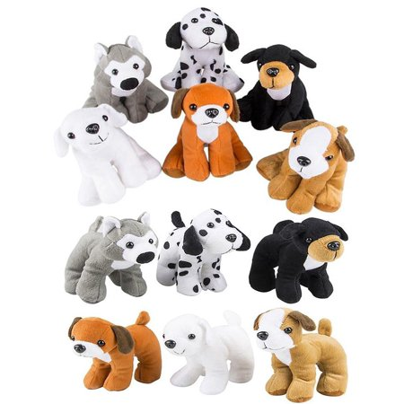 4E's Novelty Stuffed Plush Soft Dogs Animals Puppies Bulk Party Favor, Large Stuffed Animals Assortment, 6 inches, Pack of 12, 2 - Bulk Stuffed Dogs