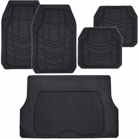 BDK TransTech Car Floor Mats with Heavy Duty Cargo Trunk Mat, 100 Percent Odorless All Weather Trimmable, Black Beige