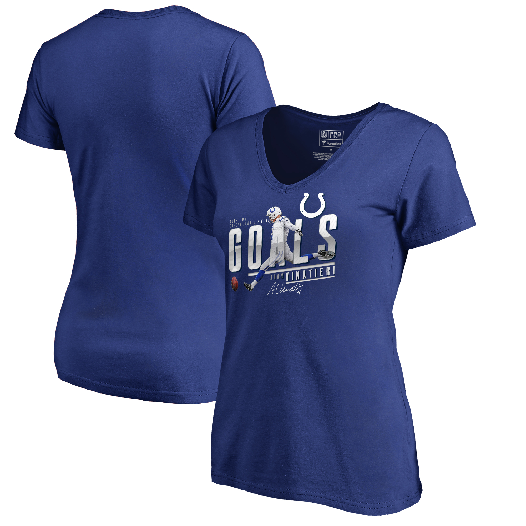172e8912 Adam Vinatieri Indianapolis Colts NFL Pro Line by Fanatics Branded Women's  All-Time Career Leader Field Goals V-Neck T-Shirt - Royal