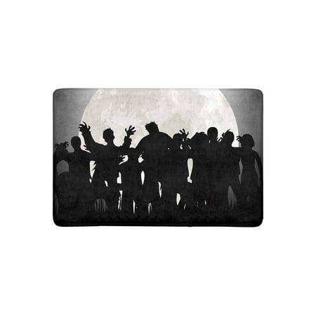 MKHERT Halloween Zombies Tombstones and Full Moon On The Cemetery Doormat Rug Home Decor Floor Mat Bath Mat 23.6x15.7 - Floor 7 On 100 Floors Halloween