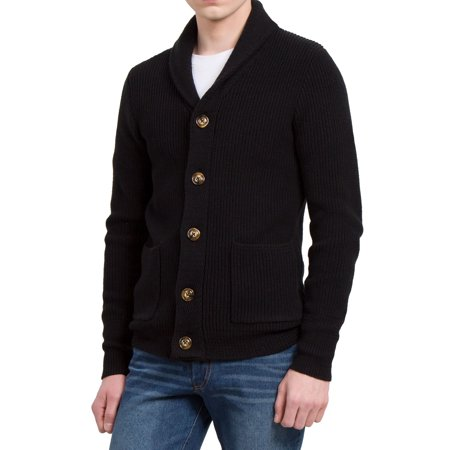 Unique Bargains Men's Pockets Front Shawl Collar Single Breasted Cardigan (Single Breasted Zip)