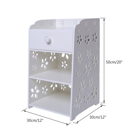Bedroom Bedside Table Rack Cabinet Organizer Night Stand with Drawer White Home Room - image 6 of 7