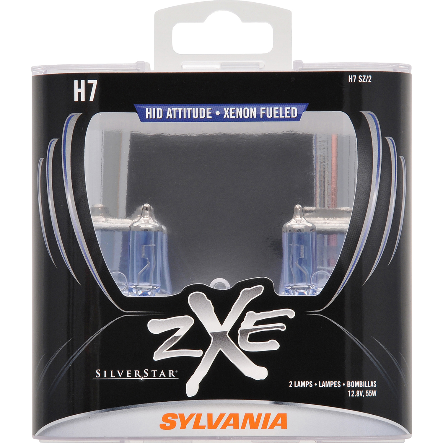SYLVANIA H7 SilverStar zXe Halogen Headlight Bulb, Pack of 2