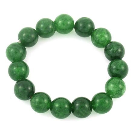Ladies Plastic Round Beads Linked Stretch Bracelet Wristband Dark Green - image 1 of 1