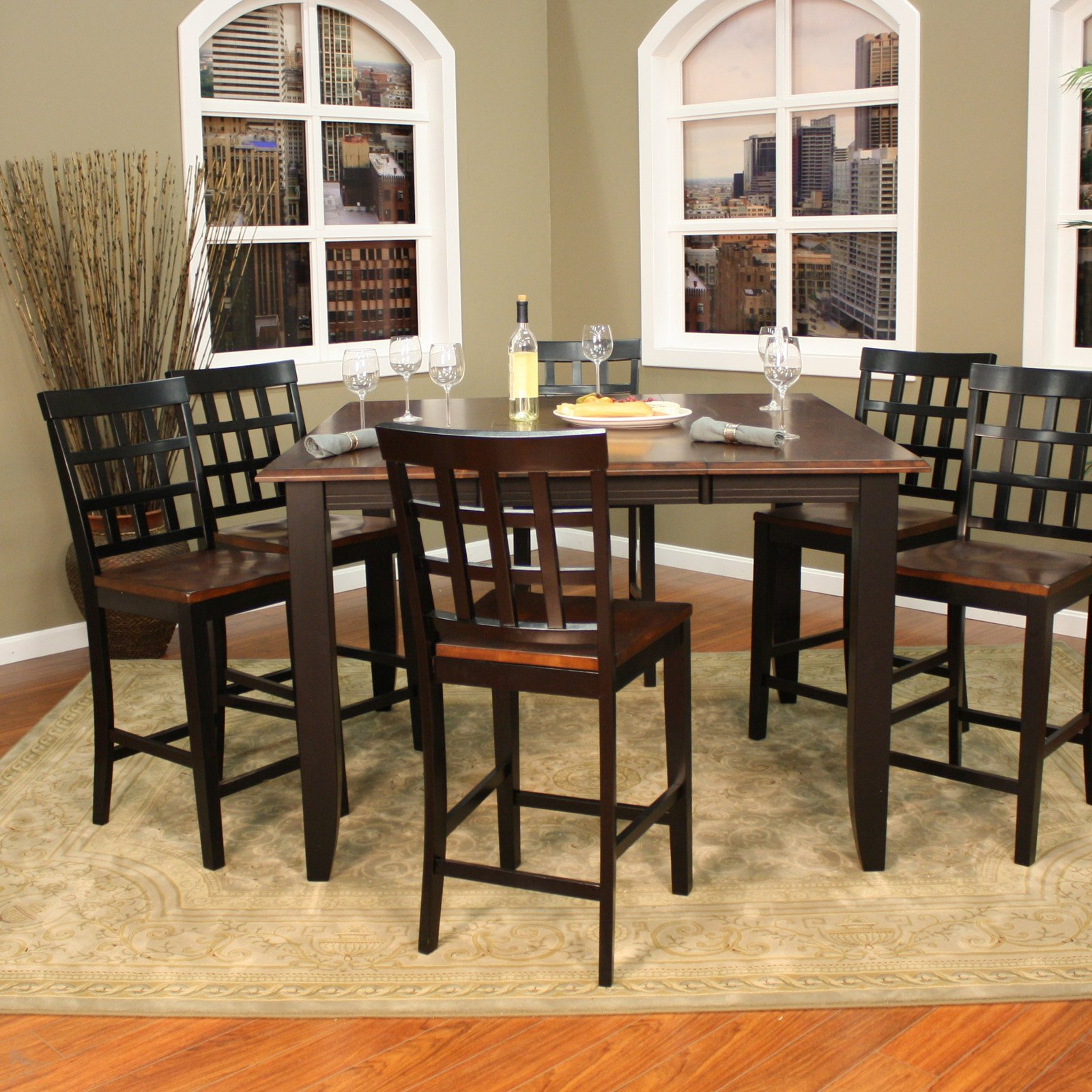 AHB Rosetta 7 Piece Two Tone Counter Height Set with Mia Stools