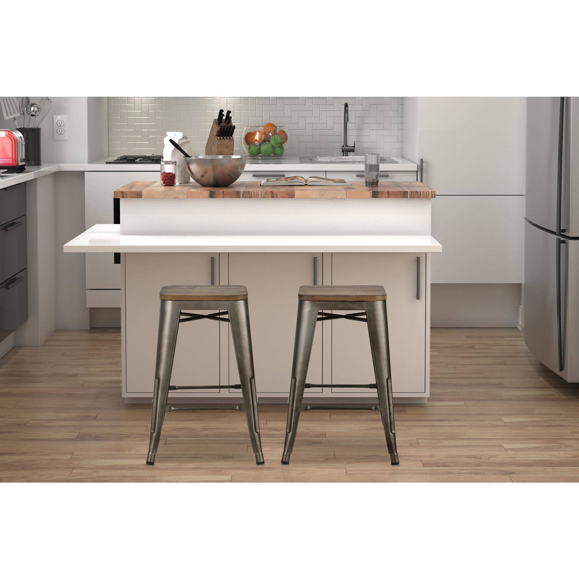 """Dorel Home Products Fusion 24"""" Metal Backless Counter Stool with Wood Seat, Set of 2, Multiple Colors"""