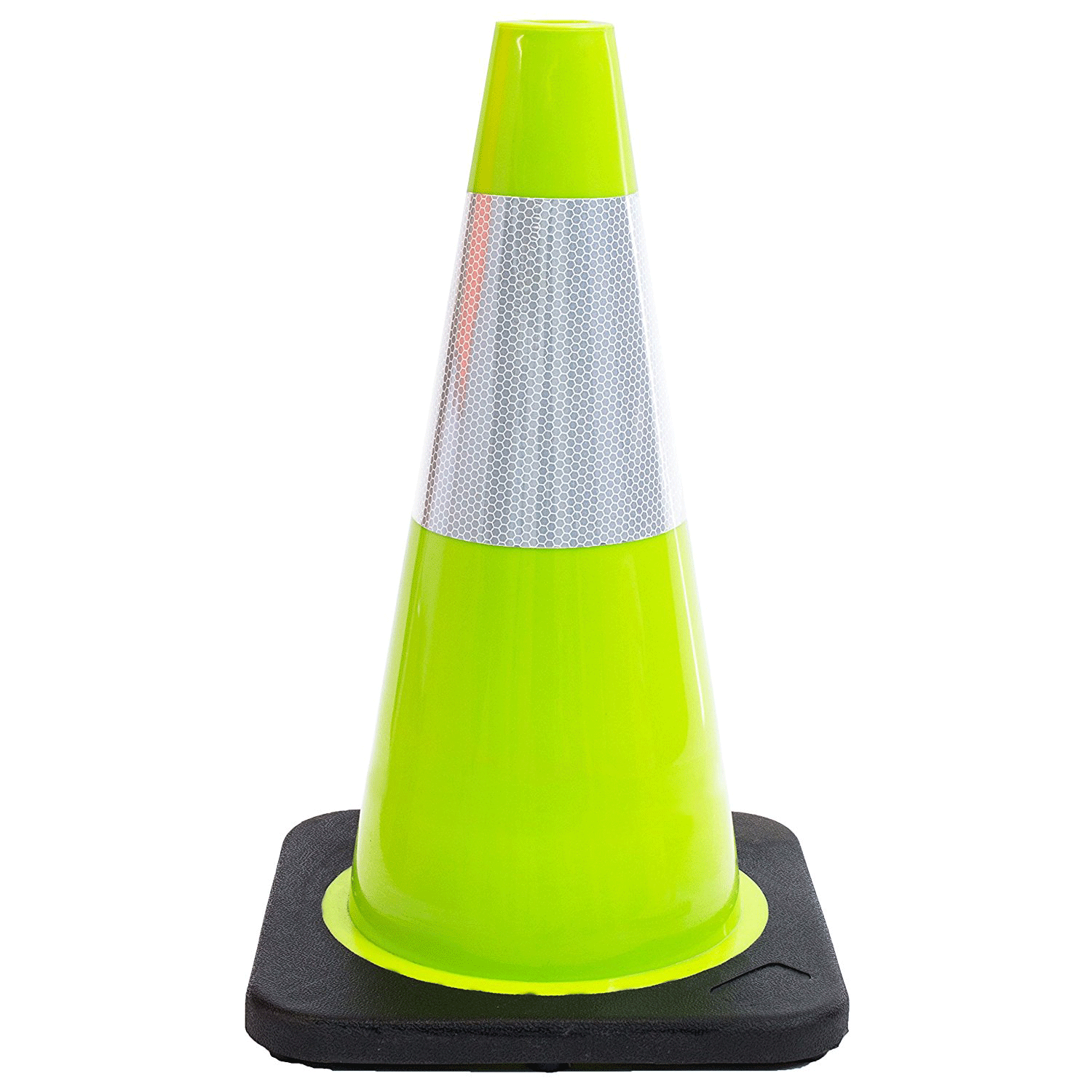 """18"""" Traffic Cones, One Reflective Collar - Lime / 24"""