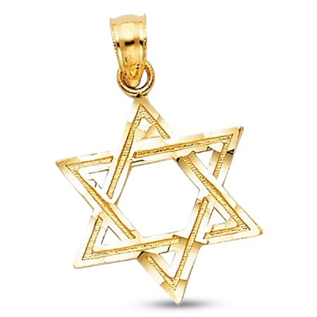Star Of David Pendant Solid 14k Yellow Gold Religious Charm Jewish Diamond Cut Style 17 x 15 mm ()