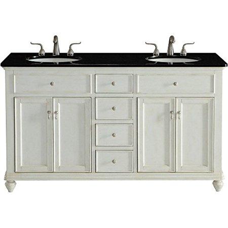 Double Bathroom Vanity set in Antique White - 60 In. Double Bathroom Vanity Set In Antique White - Walmart.com