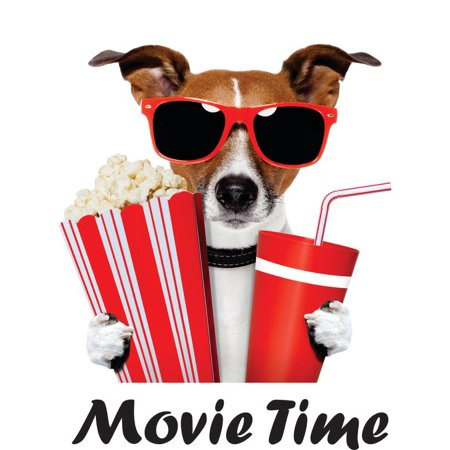 Dog Popcorn Soda Movie Time Quote Bedroom Design Picture Art Mural Custom Wall Decal Vinyl Sticker 20 Inches X 20 -