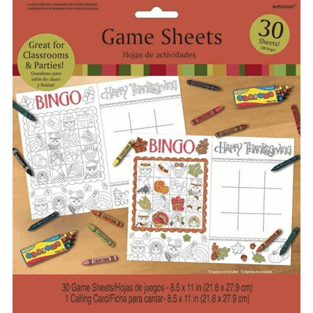 AMSCAN FALL FESTIVE THANKSGIVING GAME SHEETS, WHITE, THANKSGIVING PARTY 8.5