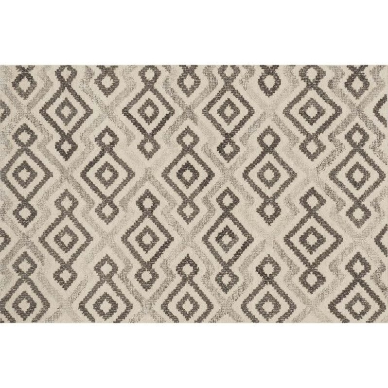 "Loloi Akina 5' x 7'6"" Wool Rug in Ivory and Gray"