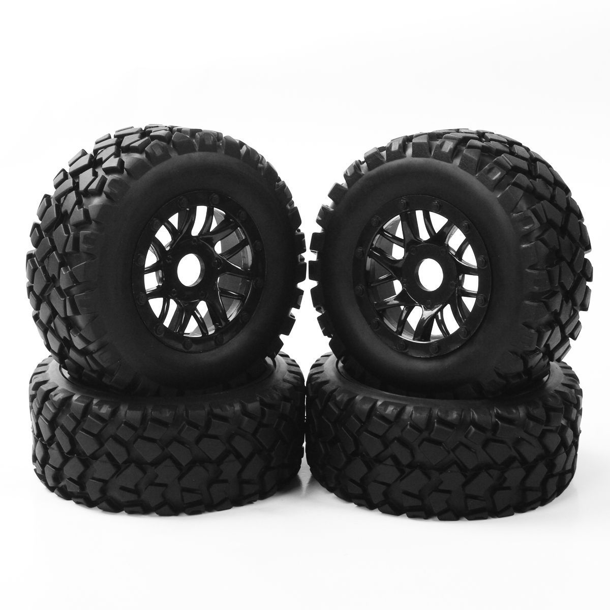 4Pcs 17mm Hex 1:10 Short Course Truck Tires&Wheel for RC Traxxas SLASH Tyre by RUIBAITE