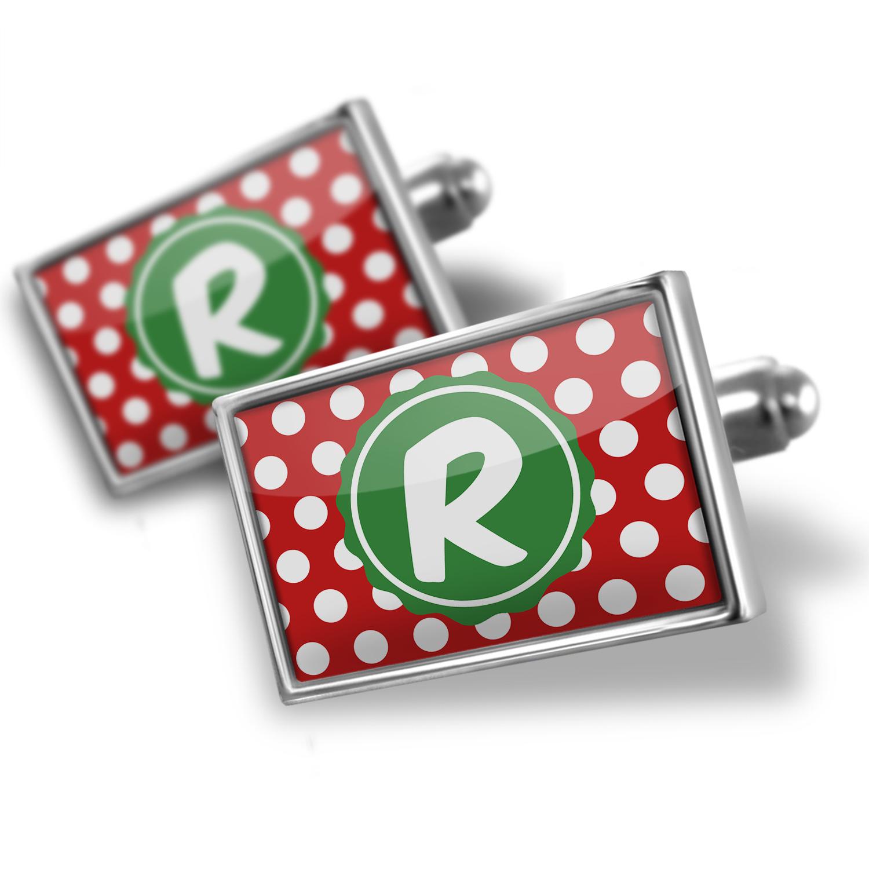 Cufflinks Monogram R Red Polka Dots - NEONBLOND