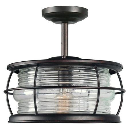 Kenroy Home Beacon Blackened Gilded Copper 1 Light Convertible Semi Flush