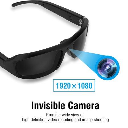 WALFRONT Outdoor Sports 1080P HD USB Rechargeable Sunglasses Mini Camera Video Camcorder , Sun Glasses Camera, Eye Wear Camera (Vidrio Glass)