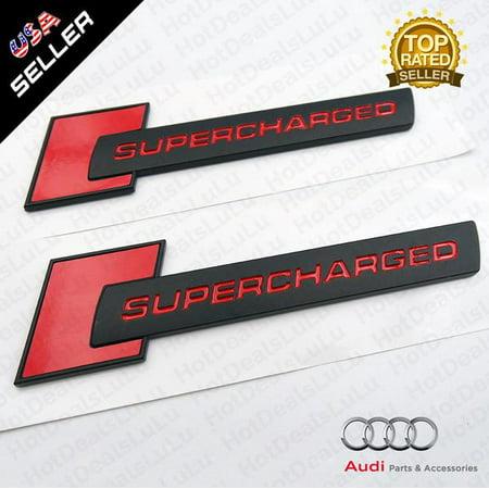 Audi ABS Black & Red SuperCharged Side Fender Marker Logo Emblem Badge Decoration OEM