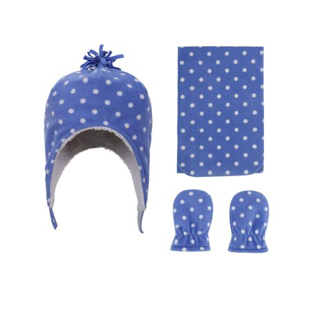 Toddler Hat Gloves - Toddlers' Sherpa Lined Blue Dots Print Fleece Hat and Gloves Set, S 6-24 Months