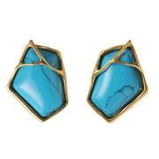 De Buman 18k Yellow Goldplated or 18k Rose Goldplated Irregular Pentagon Turquoise Earrings 18k Rose Goldplated