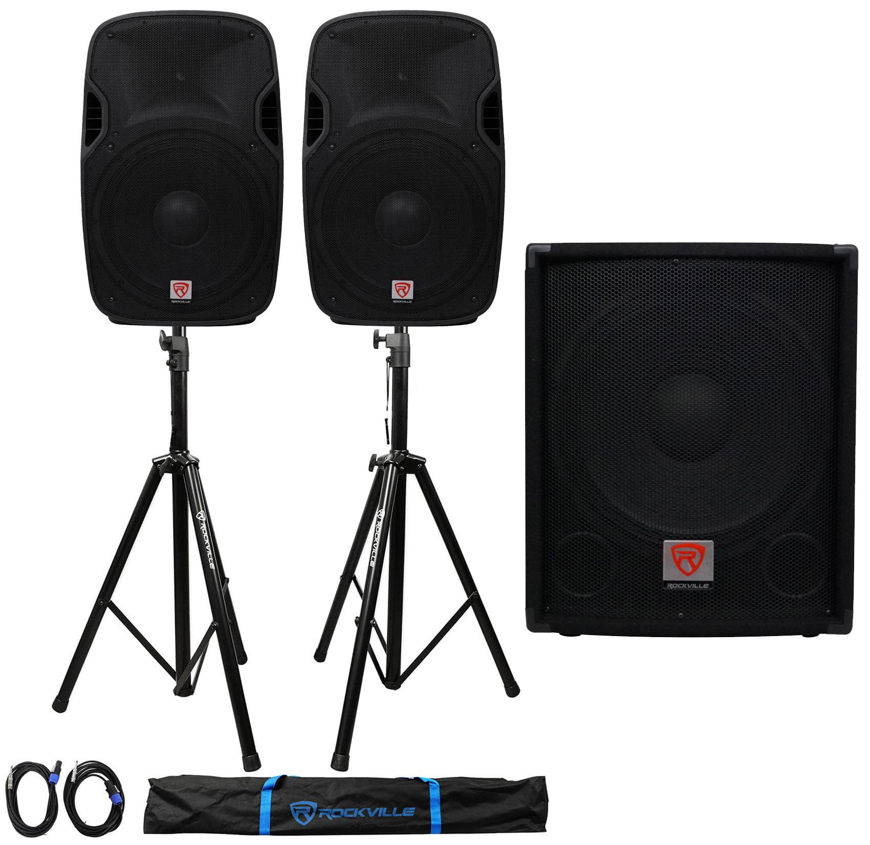 "(2) Rockville SPGN158 15"" Passive 1600W 8-Ohm DJ PA Speakers+Passive Sub+Stands"